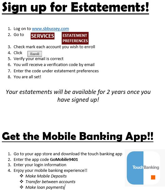 Sign up estatement and app